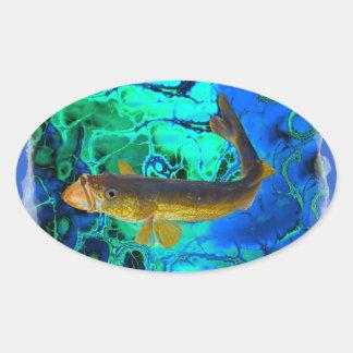 Swimming Walleye, Pickerel Fish Art Oval Sticker