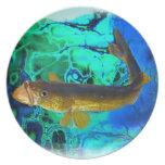 Swimming Walleye, Pickerel Fish Art Plates