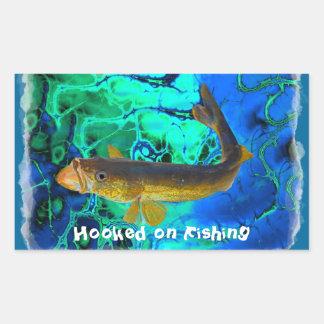 Swimming Walleye, Pickerel Fish Art Rectangular Sticker