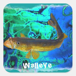 Swimming Walleye, Pickerel Fish Art Square Sticker