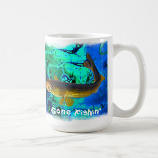Swimming Walleye, Pickerel Fish Gone Fishin' Coffee Mug