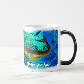 Swimming Walleye, Pickerel Fish Gone Fishin' Magic Mug