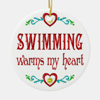 Swimming Warms My Heart Christmas Tree Ornaments