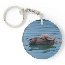 Swimming Water Buffalo Keychain