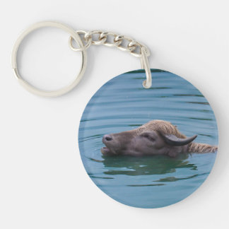 Swimming Water Buffalo Keychain