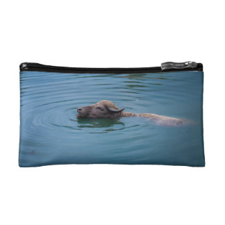 Swimming Water Buffalo Makeup Bag