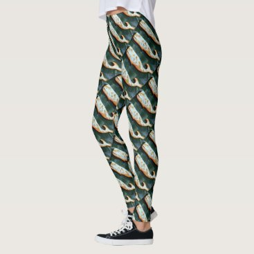 Beach Themed swimming weathered wood whales leggings