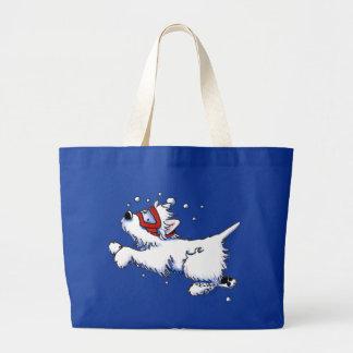 Swimming Westie Large Tote Bag