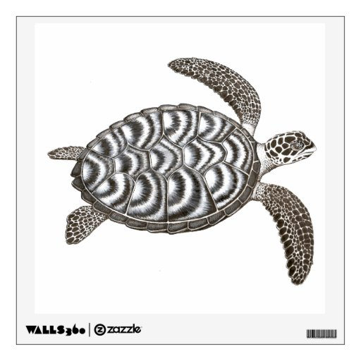 swimming wild hawksbill sea turtle wall decal zazzle. Black Bedroom Furniture Sets. Home Design Ideas