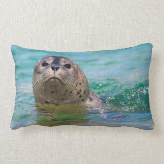 Swimming with a baby seal lumbar pillow