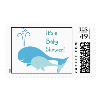 Swimming with Mama Whale Baby Shower Stamp