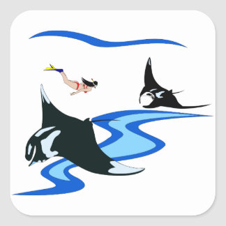 Swimming with Manta Ray Square Sticker