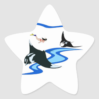Swimming with Manta Ray Star Sticker