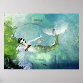 Swimming with Salmon Print