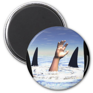 Swimming with sharks 2 inch round magnet