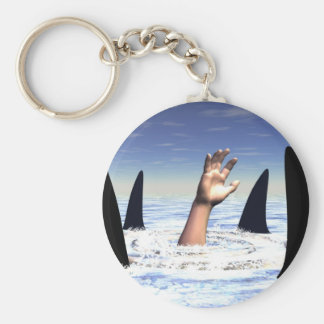 Swimming with sharks keychain