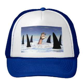 Swimming with sharks trucker hat
