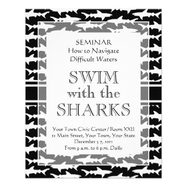 Professional Business Swimming with the Sharks Funny Shark Pattern Flyer