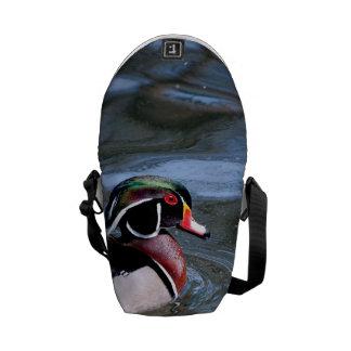 Swimming Wood Duck Messenger Bags