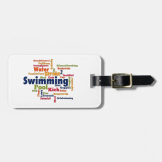 Swimming Word Cloud Bag Tag