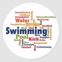 Swimming Word Cloud Classic Round Sticker