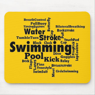 Swimming Word Cloud Mouse Pad