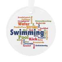 Swimming Word Cloud Ornament