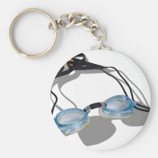 SwimmingGoggles091210 Basic Round Button Keychain