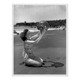 Swimsuit Girl Oregon Beach Vintage Print