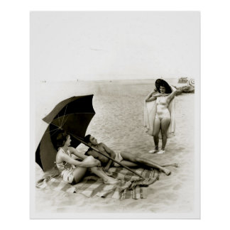 Swimsuit Girl Seaside Oregon Beach Vintage Poster