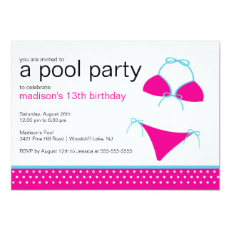 Swimsuit Pool Party Birthday Invitation