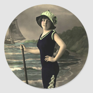Swimsuit Trimmed in Green and Hat Classic Round Sticker