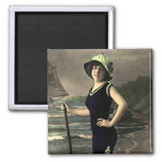 Swimsuit Trimmed in Green and Hat Magnet