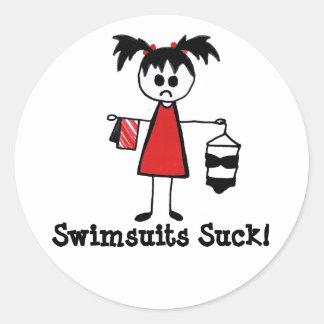 Swimsuits Suck! Classic Round Sticker