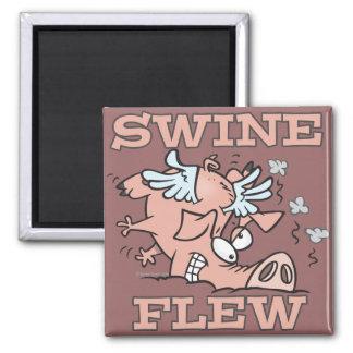 swine flew flying pig flu pun cartoon 2 inch square magnet