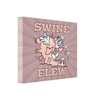 swine flew flying pig flu pun cartoon gallery wrap canvas