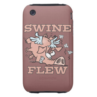 swine flew flying pig flu pun cartoon tough iPhone 3 cover