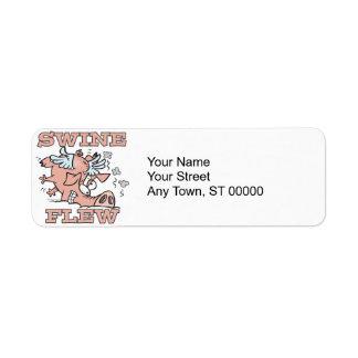 swine flew flying pig flu pun cartoon label