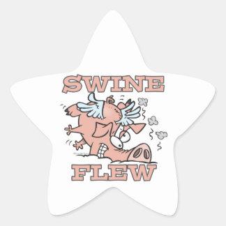 swine flew flying pig flu pun cartoon sticker