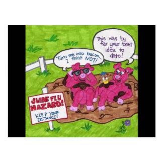 Swine Flu Hazard Postcard