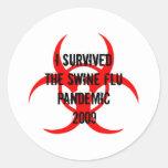 SWINE FLU PANDEMIC CLASSIC ROUND STICKER
