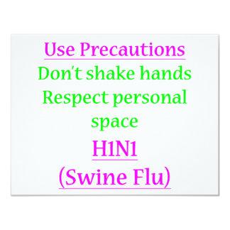 "Swine Flu Precautions 2 4.25"" X 5.5"" Invitation Card"