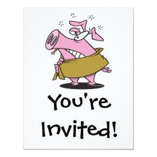 """swine flu sick pig cartoon 4.25"""" x 5.5"""" invitation card"""