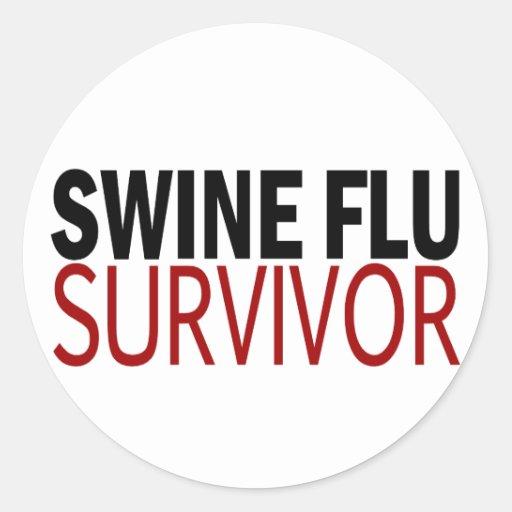 Swine Flu Survivor Round Stickers
