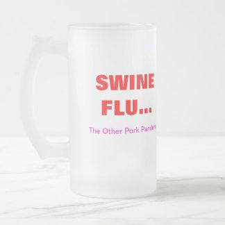 "SWINE FLU..., ""The Other Pork ... Frosted Glass Beer Mug"