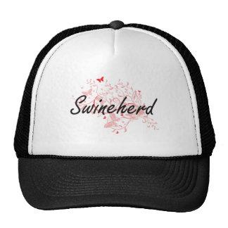 Swineherd Artistic Job Design with Butterflies Trucker Hat