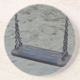 Swing at Playground, Summer Sand Beach Kids Play Beverage Coasters
