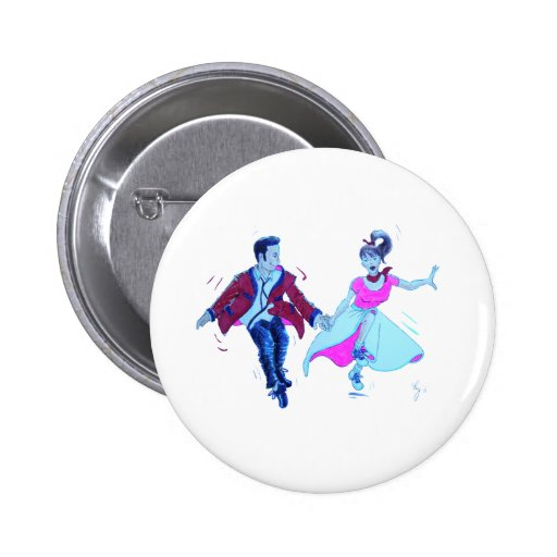 swing dancer pink poodle skirt saddle shoes pinback buttons