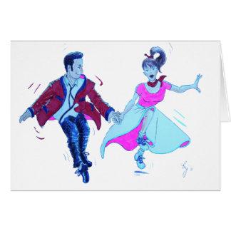 swing dancer pink poodle skirt saddle shoes greeting card