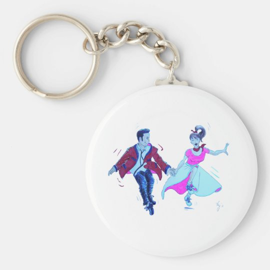 swing dancer pink poodle skirt saddle shoes keychain